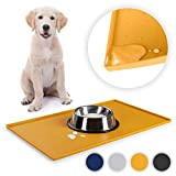 EVERANIMALS Silicone and Waterproof Pet Food Mat for Dog and Cat, 11.8x19.6 inch - Yellow