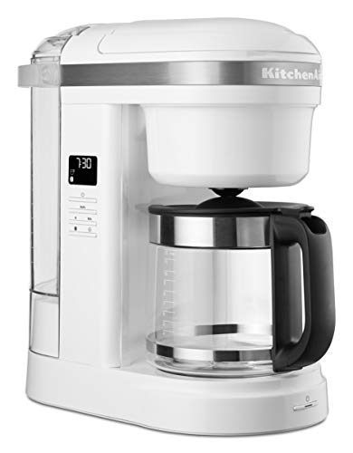 KitchenAid 5KCM1208BWH Drip Coffee Maker with Spiral Shower Head-White, Glass, 1.7 liters