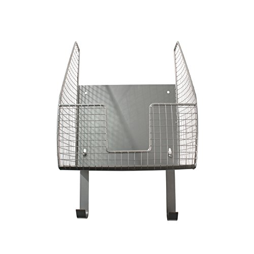 Spectrum Storage Basket, Heat-Resistant Ironing Board Holder Open Wire, Laundry Room Décor & Organization, Pewter