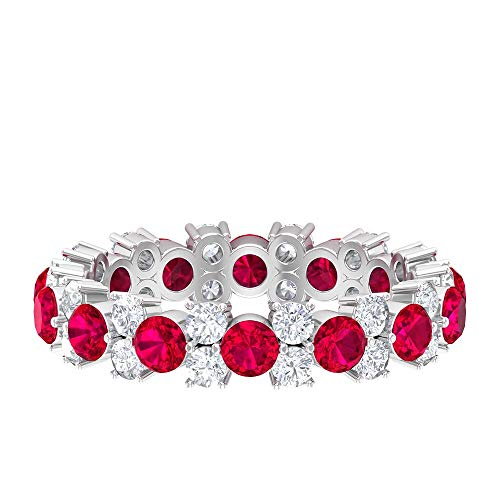 Rosec Jewels 14 quilates oro blanco redonda round-brilliant-shape H-I Red Diamond Creado en laboratorio.