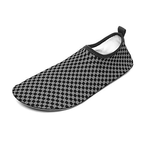 Lind88 - Zapatos de agua para mujer con tablero de ajedrez, color negro y gris