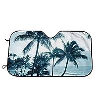 ハワイアンコーストプラムツリー 車用サンシェード フロントシェード ガラス 車用遮光断熱 UV 紫外線対策折り畳み カーフロントカバー日焼け防止汎用車用品
