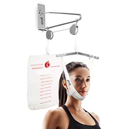 Pivit Over Door Cervical Traction Kit, Neck Disk Relief, Complete Set | Sturdy, Chrome-Plated Steel Construction | One Size Fits All & Adjustable | Neck Stretcher for Home Traction Spine Alignment