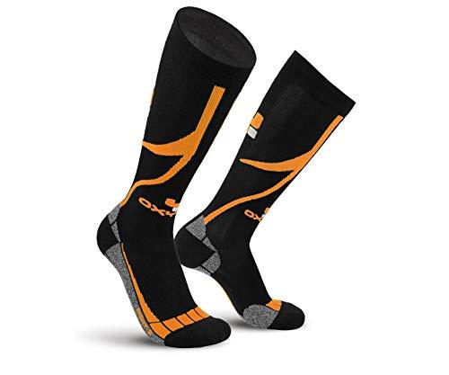 Oxyburn Trail Run Knee Chaussettes Homme, Motif Coucher de Soleil Noir, Size 2