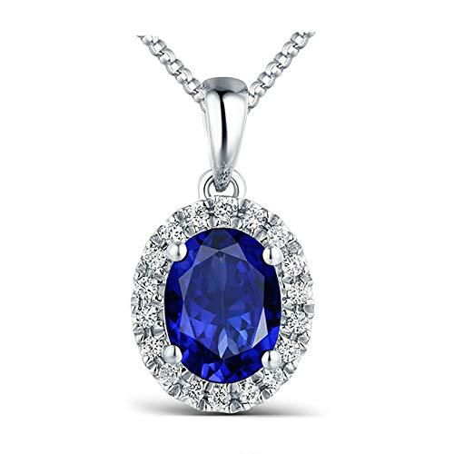 Aeici Halskette Echtgold Damen Kette Lang Charms Ovale Diamant Halskette Blau