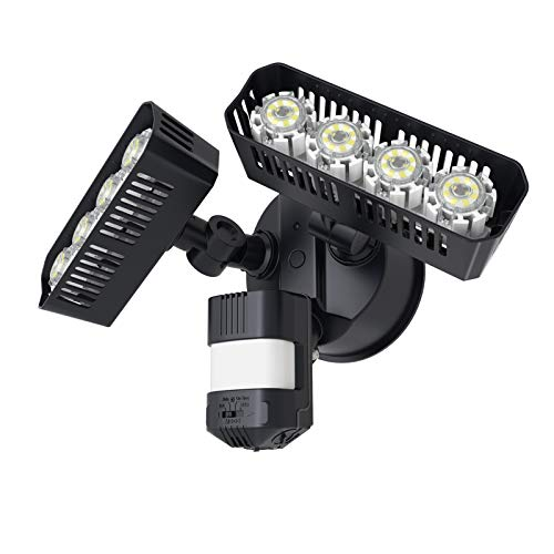 SANSI 36W LED Security Motion Sensor Outdoor Lights with COC Technology, Bright 3600lm, 5000K Daylight, IP65 Waterproof Floodlight with Auto / Dusk to Dawn / Switch Controlled Mode, ETL Listed, Black