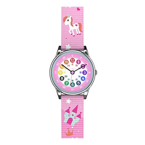 Cander Berlin MNA 1230 E Kinderarmbanduhr Kinderuhr Armbanduhr Mädchen Uhr Lernzifferblatt Einhorn rosa pink bunt