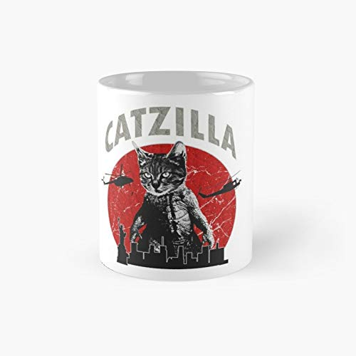 Catzilla Classic Mug - Funny Gift Coffee Tea Cup White 11 Oz The Best Gift For Holidays.