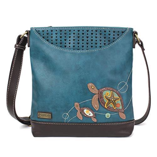 Chala Handbags Sweet Messenger Mid Size Tote Bag Two Turtles - Turquoise