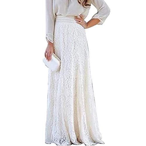 Geagodelia Falda maxi para mujer, línea A, cintura alta, falda de encaje, falda de lápiz, falda Gypsy para boda, dama de honor Blanco M