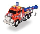 Dickie - Action Series Camión grúa 30 cm con gancho y remolque, luz y sonido (203306014)