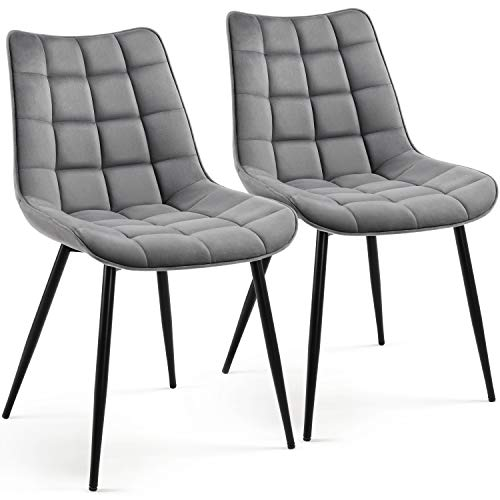 Yaheetech Set of 2 Dining Chairs Modern Fabric Tub Chairs with Cushioned Soft Seat Sturdy Black Steel Legs Backrest Counter Lounge Living Room/Cafe Furniture Gray