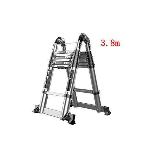 XUQIANG Escalera telescópica Inicio Multifunción Plegable Subida y caída Ingeniería Espiga portátil Recta de Doble Uso Engrosamiento de Aluminio Tritthocker (Size : 3.8m+3.8m)