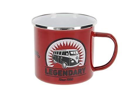 Brisa VW Collection - Volkswagen Furgoneta Hippie Bus T1 Van Taza de Café metálica Esmaltada en Caja de Regalo, Copa de Té, Decoración de la Mesa/Outdoor/Camping/Souvenir (Vintage Logo/Rojo)