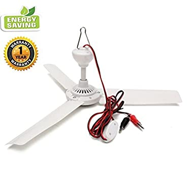 Sunlar 12V DC 19.7  inch Ceiling Fan With Switch Outdoor Camping Suit For 12V Battery Power