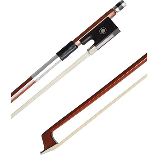 ADM 4/4 Full Size Student Violin Bow, Well Balanced Handmade Brazilwood Bow with Horsehair, Ebony Frog with Pearl Eye and Pearl Slide, Brown