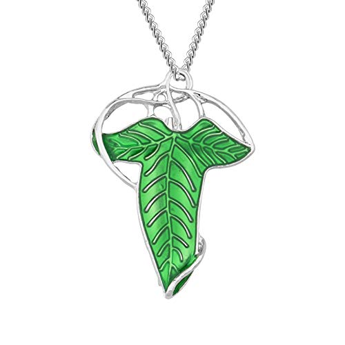 AKTAP Lord of The Ring Inspired Necklace Elven Green Leaf Pin Gift for King of The Elves Fans
