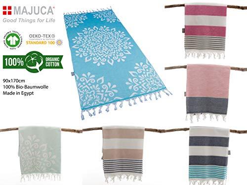 Hamamtuch Strandtuch 170x90cm Badetuch Sauna Strandlaken Handtuch Fairtrade 100% Bio-Baumwolle Velours Frottier Pflegeleicht (Mandala TÜRKIS)