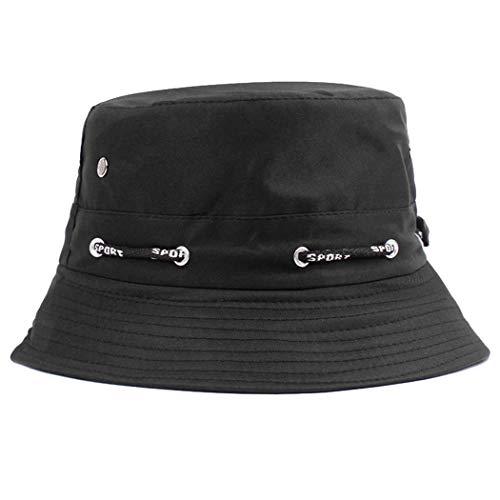 Zoylink Unisex Adjustable Summer Sun Bucket Hat (Black,...