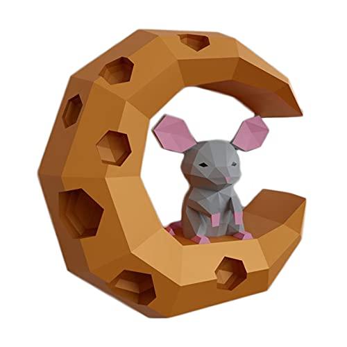 Mus På Ostmånen 3D Geometrisk Väggdekoration Kreativ Pappershantverk DIY Origami Pussel Pappersmodell Handgjord Spelpapper Skulptur Pappersleksak