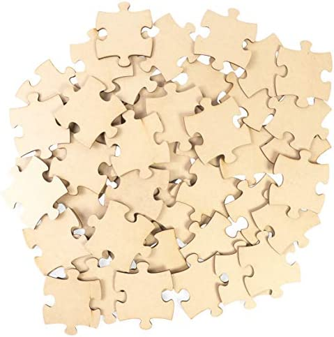 Unfinished Jumbo Wood Puzzle Pieces for Crafts Natural Color 50 Pack product image