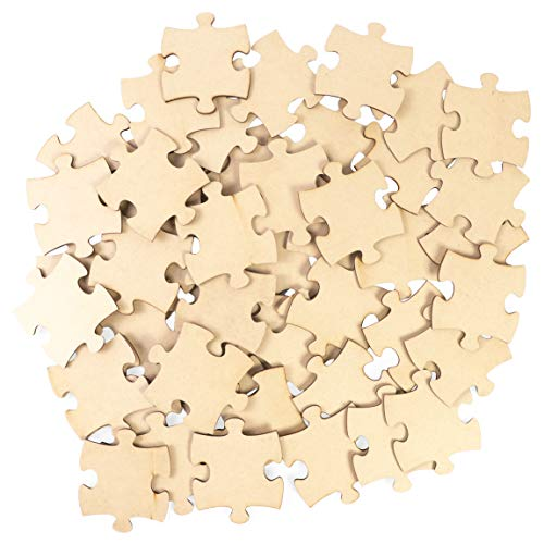 Unfinished Jumbo Wood Puzzle Pieces for Crafts (Natural Color, 50 Pack)
