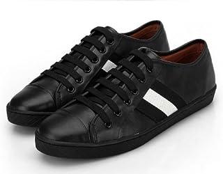 セレブシューズ メンズ 本革 牛皮 モード レザーローカット ラインスニーカー 2色 ホワイト ブラック 靴くつ 24.5cm-27cm