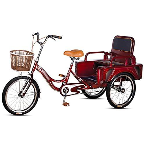 OHHG Triciclo Adultos Bicicleta Adultos 20 Pulgadas Carro Plegable/Asiento Cesta la Compra...
