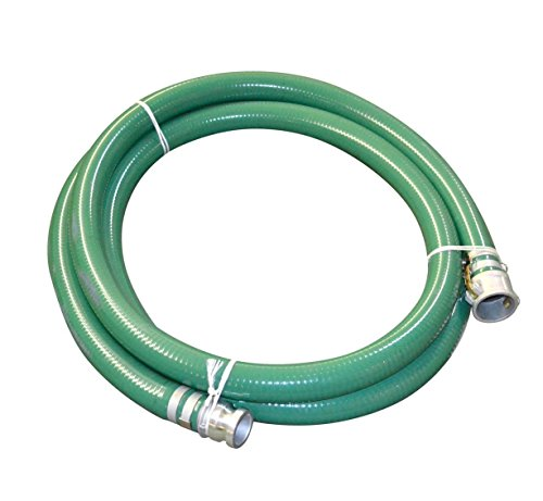 """Abbott Rubber 1240-3000-20-CE PVC Suction Hose Assembly, Green, 3"""" Male X Female Cam and Groove, 40 psi Max Pressure, 20' Length, 3"""" ID"""