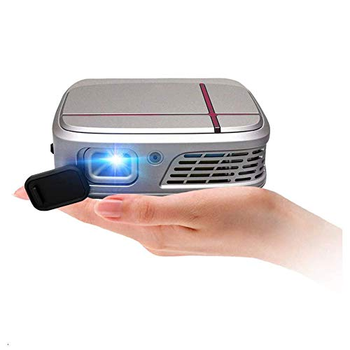 SHENGDAN Mini Pocket DLP WiFi Projector with Battery, 3D 1080P Full HD Support, Mobile Wireless Portable LED Home Theater Outdoor Projector HDMI USB Audio Airplay for iPhone iPad Android DVD PS4