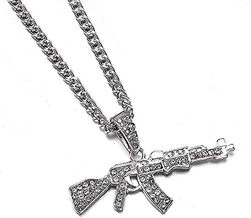Collar Collar Moda Gargantilla Collares para mujer Colgante de pistola Collar de cadena de diamantes de imitación de cristal Mujeres Hombres PuChains Joyería Regalo para mujeres Hombres Regalos