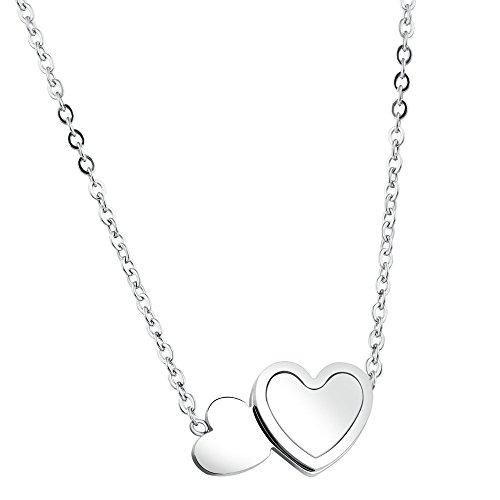 Onefeart Edelstahl Anhänger Halskette für Frauen Mädchen Hertz zu Hertz Schale Design Kette 49CM Silber