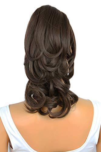 PRETTYSHOP 30cm Haarteil Zopf Pferdeschwanz Haarverlängerung Voluminös Gewellt Dunkelbraun H131