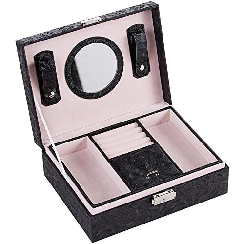 2 capas grandes Caja Joyero con cerradura piel sintética Caja Organizadora de Joyas con espejo y cerradura mujer Caja de Joyas para anillos pendientes collares pulseras color negro