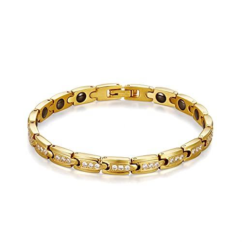 Flongo レディースブレスレット 腕輪 磁石吸引 ステンレスバングル ジルコン キラキラ 復古 人気 シンプル ファション 薄手 幅0.6cm プレゼント 母の日 誕生日 記念日 クリスマス 新年 ゴールド