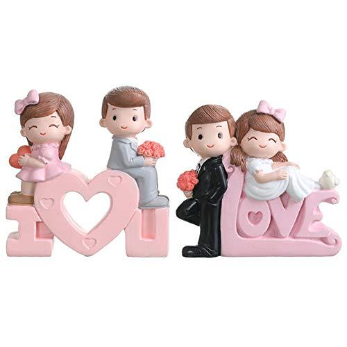 2PCS Cake Topper Cuore,JPYZ Decorazione Torta di San Valentino,Topper Torta Nuziale,Coppia Statua San Valentino Wedding Cake Topper
