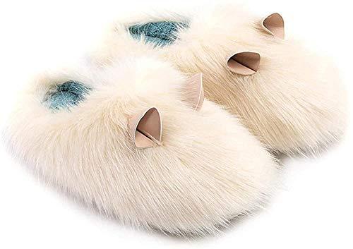 Fleece Hausschuhe Meerschweinchen Form Niedlich Plüsch Winter Innen Warm und Rutschfest Baumwolle Hausschuhe Geeignet für Frauen Oder Paare - Creme-Weiß_40-41