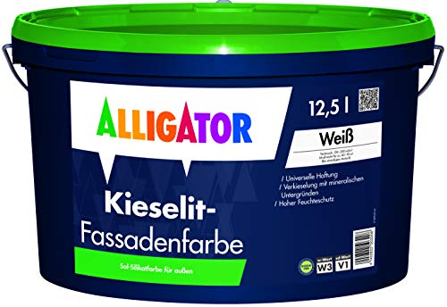 Alligator Kieselit Fassadenfarbe Silikatbasis 12,5 Liter Weiß - Biozidfreier Schutz vor Algen und Pilzen, Wetterschutz, hohe Deckkraft, Außenfarbe - Made in Germany