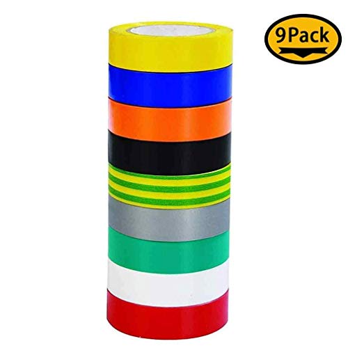 9 Roll Multicolor Electrical Tape, Maveek 0.67 Inch 65.62 Feet Utility PVC Insulation Tape Adhesive Duct Tapes, Work Great for Waterproof, Flame Retardant, Cold Resistance and Non-Conductive(9 Colors)