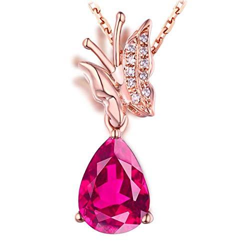 AmDxD Collar de oro rosa de 18 quilates, 1,2 quilates, con forma de gota de mariposa con colgante de diamante, collar de boda para novias, regalos de cumpleaños   Regalos de San Valentín para mujeres