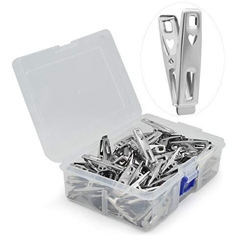 VIPbuy 60 pièces en acier inoxydable pinces à linge en métal vêtements pinces broches clips avec boîte de rangement pour vêtements chaussette alimentaire étanchéité Photos