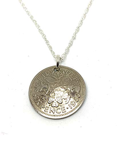 Domed Pendant 1960 Lucky Sixpence 60th Birthday gifts for women Sterling Silver 18in Chain