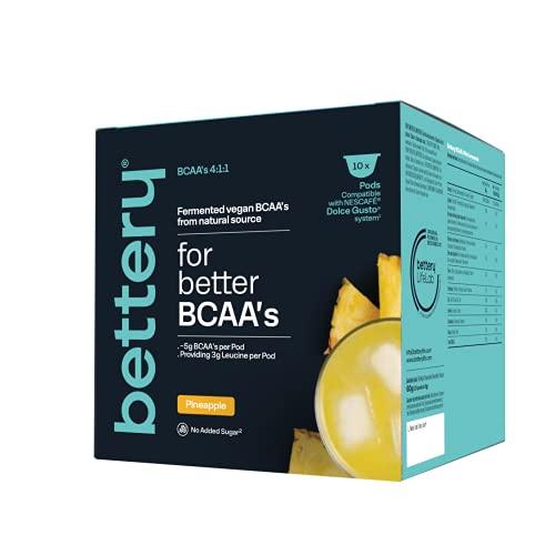 Bettery For Better BCAA´s (10 x 6 g) (x 3) - Complemento alimenticio de BCAAs de fuentes naturales | Cápsulas compatibles con Máquinas NESCAFE* DOLCE GUSTO* - Piña