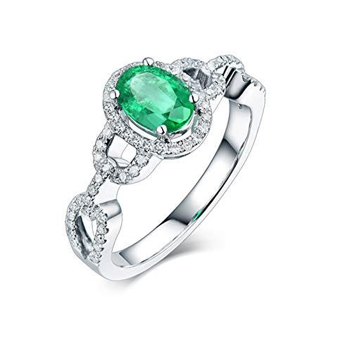 AnazoZ Anillo Mujer Piedra Esmeralda,Anillo de Compromiso Mujer Oro Blanco 18 Kilates Plata Verde Oval con Hueco Esmeralda Verde 0.8ct Diamante 0.28ct Talla 12