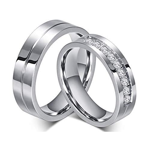 Adisaer Eheringe Nickelfrei Ring Silber Jugendstil Damen Herren Titanring Doppelt Kreis Konkav Glänzend Hoch Poliert Glatt Zirkonia Edelstahl Ring Paarpreis
