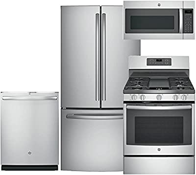 "GE 4-Piece Kitchen Package with GNE25JSKSS 33"" Fridge, JGB700SEJSS 30"" Freestanding Gas Range, GDT695SSJSS 24"" Fully Integr. Dishwasher and JVM7195SKSS 30"" Over-the-Range Microwave in Stainless Steel"