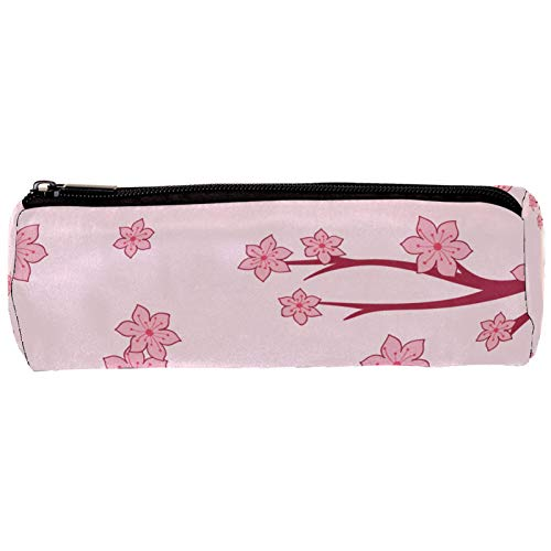 Estuche de lápices japonés con diseño de flor de cerezo de Sakura rosa con cremallera, organizador de monedas, bolsa de papelería, bolsa de maquillaje para mujeres, adolescentes, niñas, niños y niños