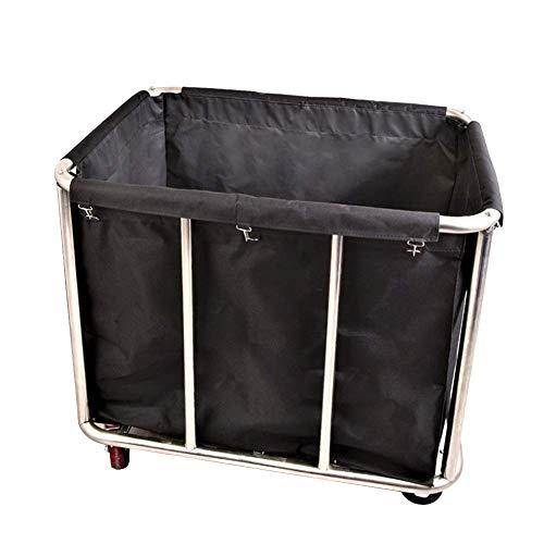 MJY Carro para vehículos de reciclaje, cesto de lavandería para hotel extra grande con ruedas, carro clasificador de lavandería comercial negro, estilo industrial, carga de 220 lb, vehículos de recol