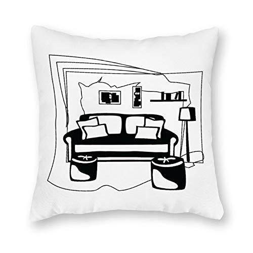 qidushop Funda de lona para cojín de un solo lado, estilo bohemio, con impresión abstracta, color negro, funda de cojín decorativa de lona para sofá, dormitorio, 45,7 x 45,7 cm