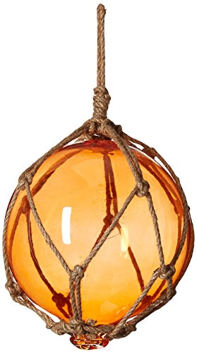 Hampton Nautical Orange Japanese Glass Ball Fishing Float with Brown Netting Decoration 4""